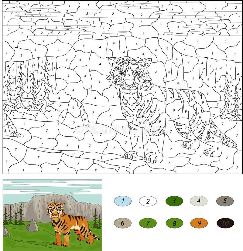 3d ścinek nad ścieżką odpłaca się saber cień tygrysi uzębiony biel Kolor numerową edukacyjną grze dla dzieciaków royalty ilustracja