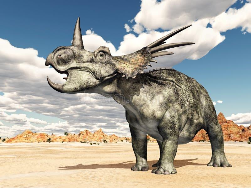 3d ścinku dinosaur nad ścieżki renderingu cienia styracosaurus biel ilustracja wektor