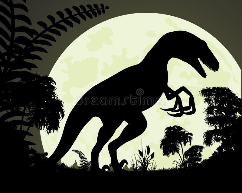 3d ścinku dinosaur nad ścieżki renderingu cienia velociraptor biel royalty ilustracja