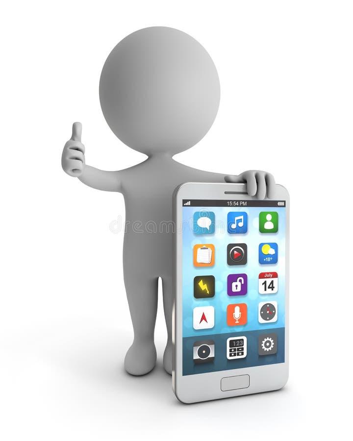 3d śliczni ludzie - stać białego smartphone royalty ilustracja