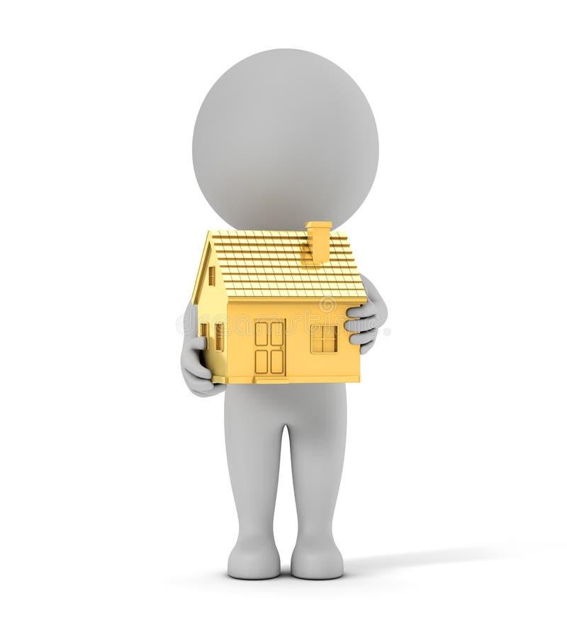 3d śliczni ludzie - trzymać złotego prostego dom ilustracja wektor