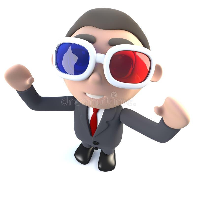 3d Śmiesznej kreskówki biznesmena wykonawczy charakter ogląda 3d film ilustracja wektor