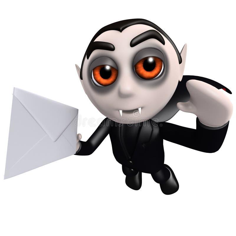 3d Śmiesznej kreskówki Dracula wampira Halloweenowy charakter dostarcza kopertę ilustracji