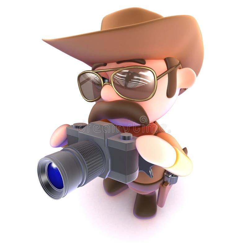 3d Śmiesznej kreskówki kowbojski szeryf bierze obrazek z kamerą ilustracja wektor