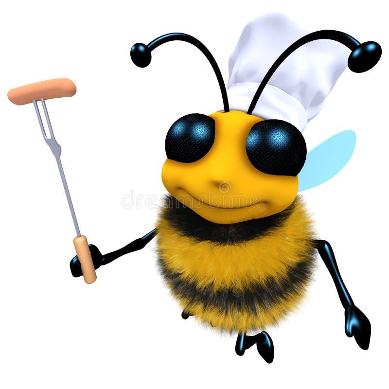 3d Śmiesznej kreskówki pszczoły miodowy charakter gotuje grilla ilustracji