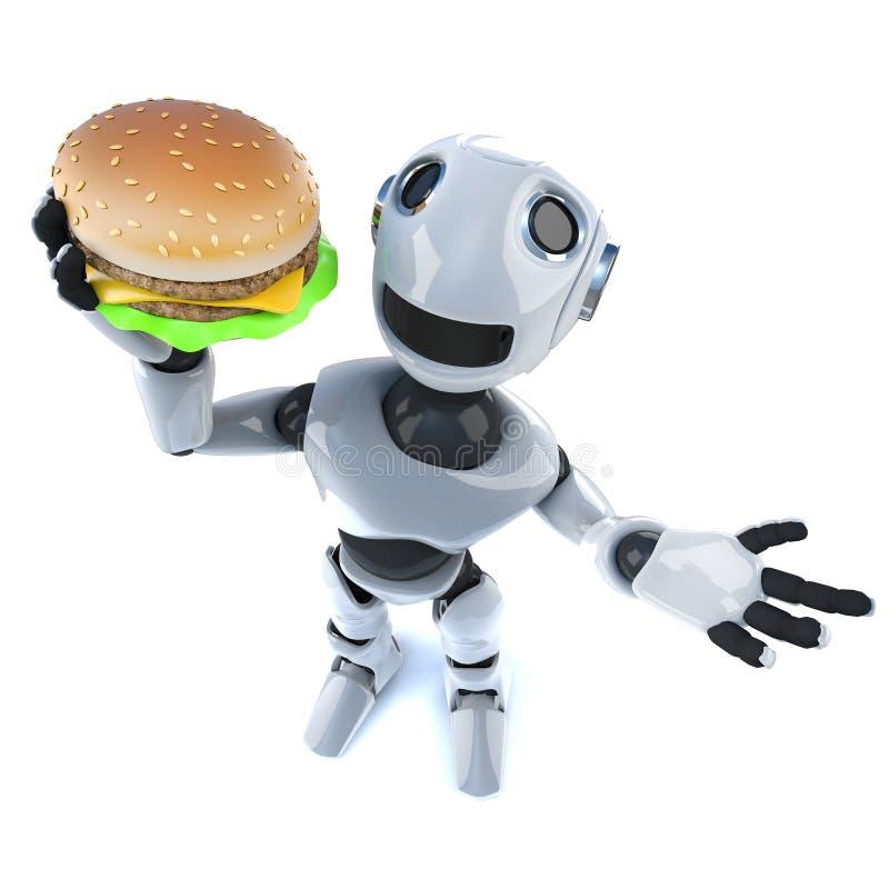 3d Śmiesznej kreskówki robota machinalny charakter trzyma serową hamburgeru fasta food przekąskę ilustracja wektor