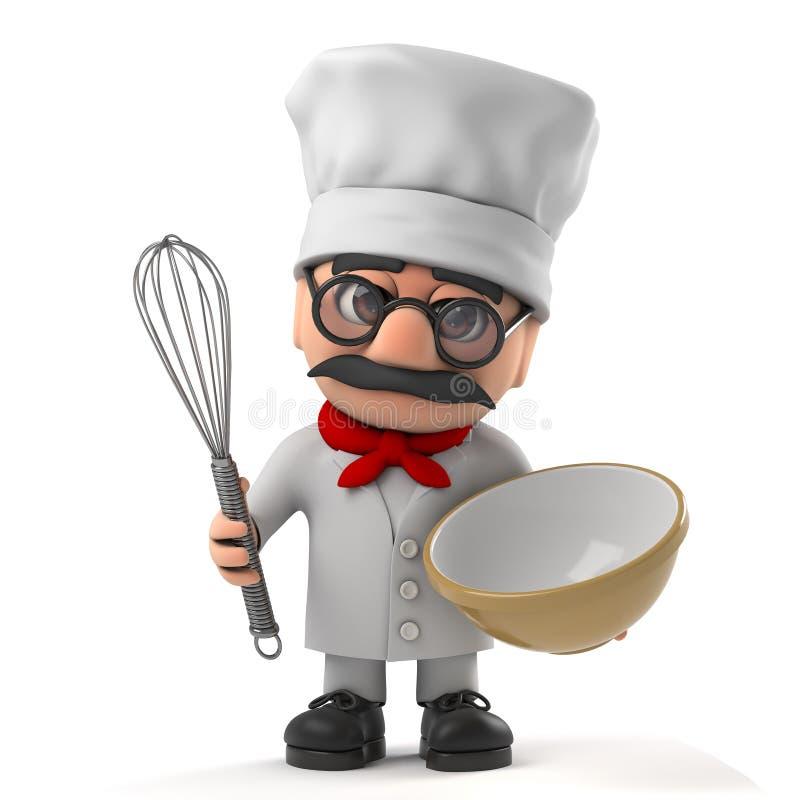 3d Śmiesznej kreskówki szefa kuchni stary charakter puchar i śmignięcie piec tort ilustracja wektor