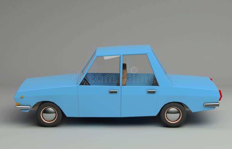 3d śmieszny retro projektujący błękitny samochód ilustracja wektor