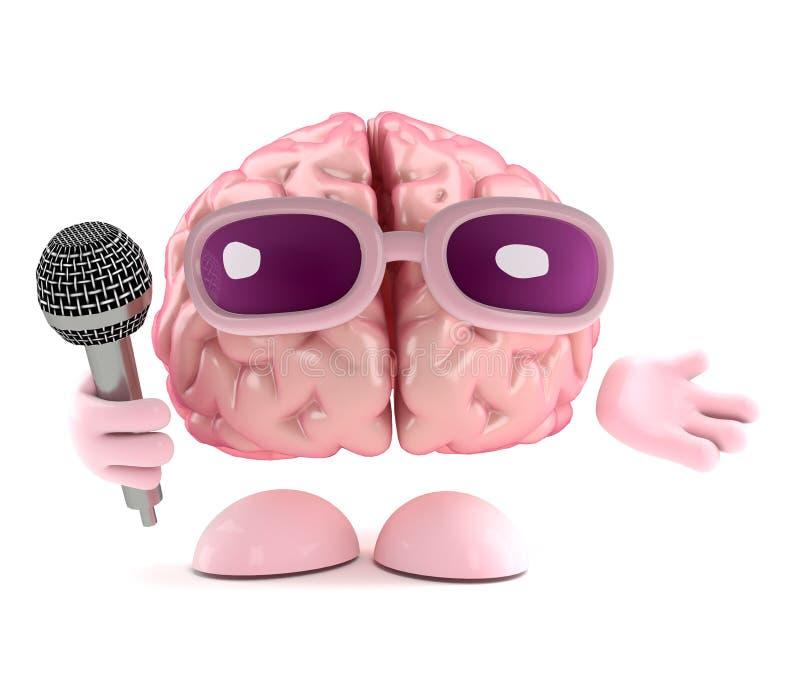 3d Śpiewacki mózg ilustracja wektor