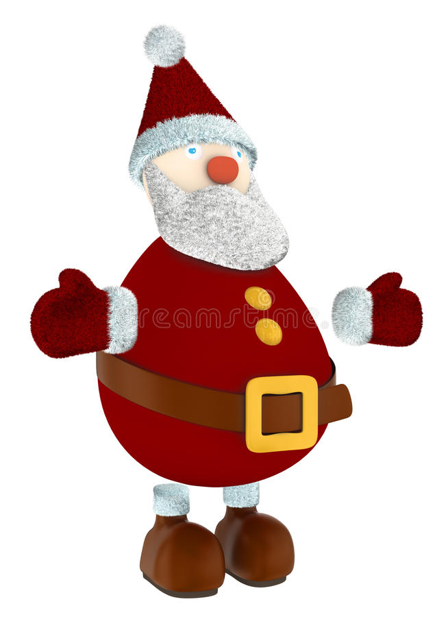 3D Święty Mikołaj odizolowywający na bielu zdjęcia royalty free