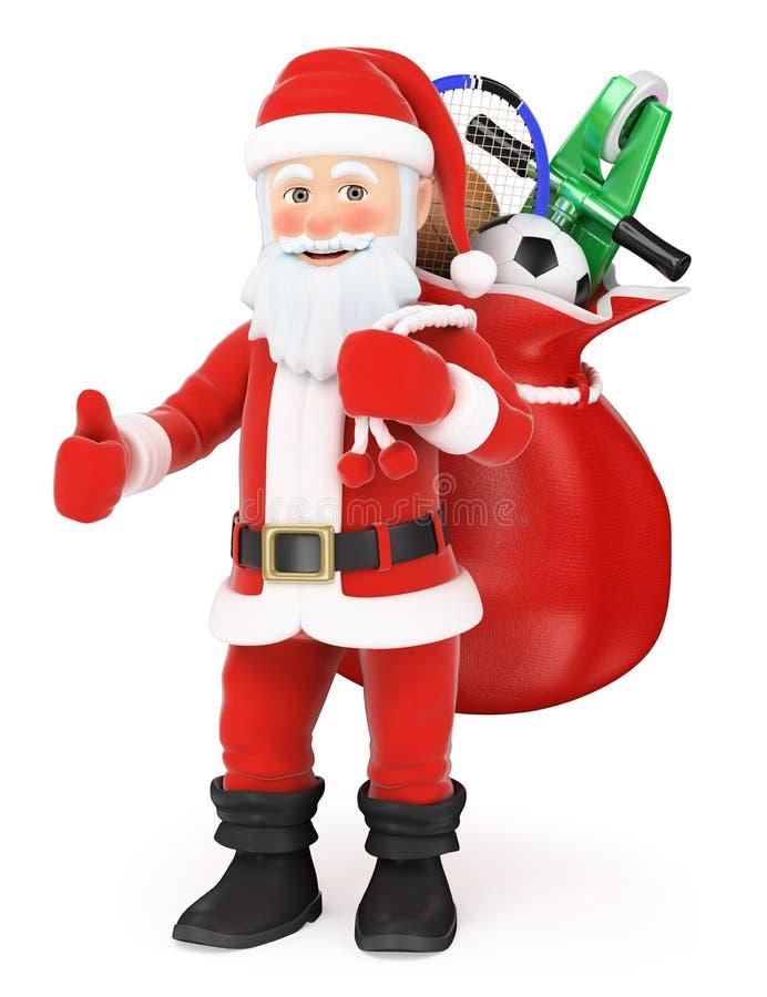 3D Święty Mikołaj z workiem pełno zabawki up i kciuk ilustracja wektor