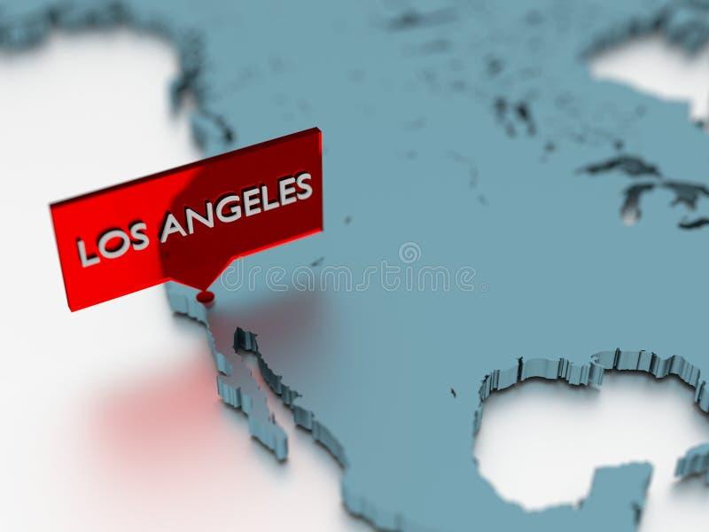 3d światowej mapy majcher - miasto Los Angeles ilustracja wektor