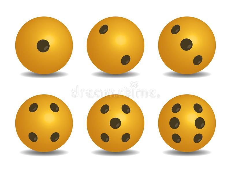 3D żółte kółkowe kostki do gry royalty ilustracja