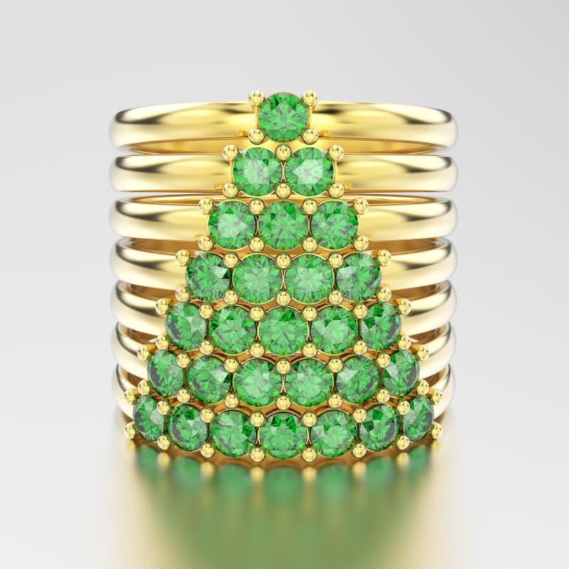 3D żółtego złota ilustracyjni dekoracyjni diamentowi pierścionki z diamon ilustracja wektor