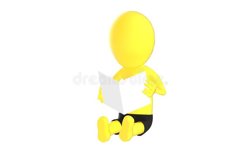 3d żółty charakter czyta białego papier royalty ilustracja