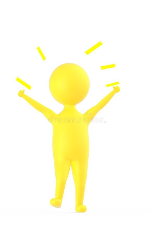 3d żółty charakter pokazuje szczęście, podniecenie, radość/ ilustracja wektor