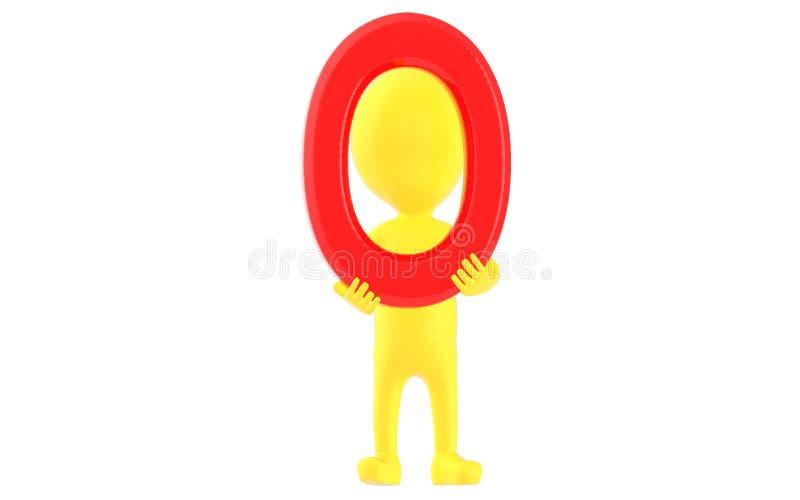 3d żółty charakter trzyma zero liczb royalty ilustracja