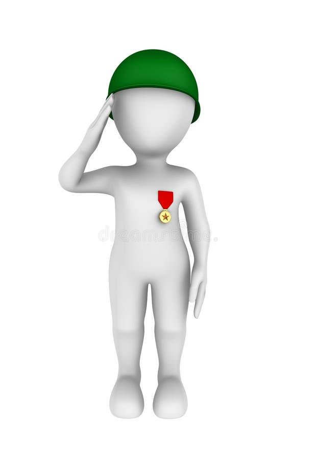 3d żołnierz nagradzający z medalem salutuje royalty ilustracja