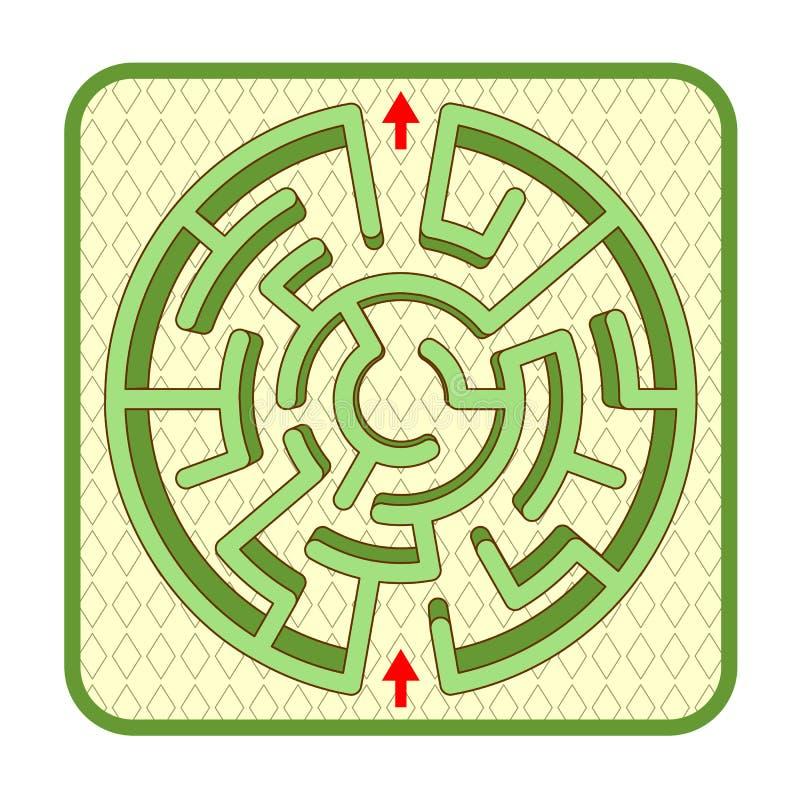 3d żywopłotu labiryntu odgórny widok, okrąg kształtujący, brukował jarda tło ilustracji