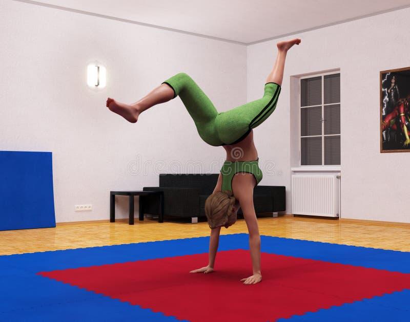 3d απόδοση Gymnastic στο άνθος διανυσματική απεικόνιση