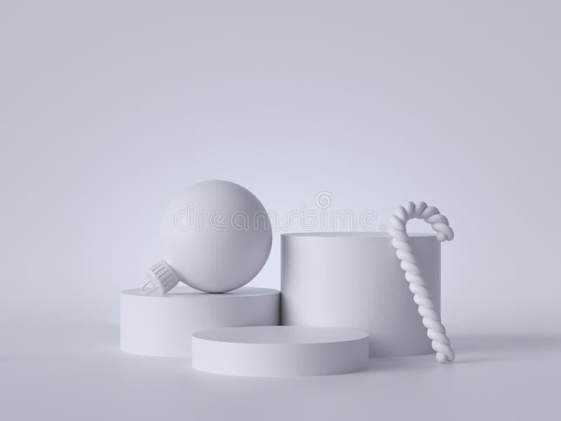 3d абстрактный белый рождественский фон с мячом и пустой подиум, украшенный сладким тростником Круглые платформы, пустые шаги пье стоковая фотография rf