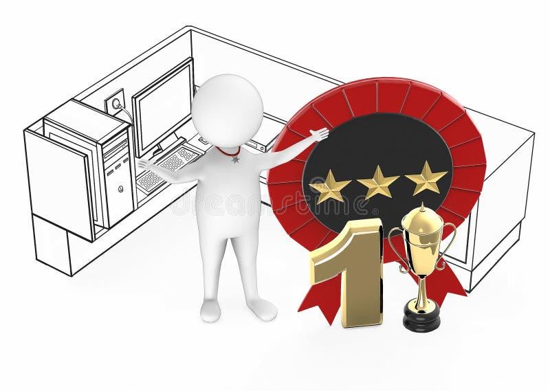 3d белый парень, самый лучший работник, положение верхнего совершителя no1 возбужденное внутри кабины офиса рядом с трофеем 1 зол иллюстрация вектора