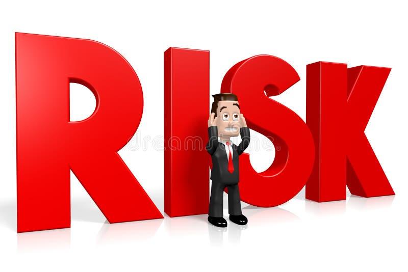 3D бизнесмен, красное слово - риск иллюстрация штока