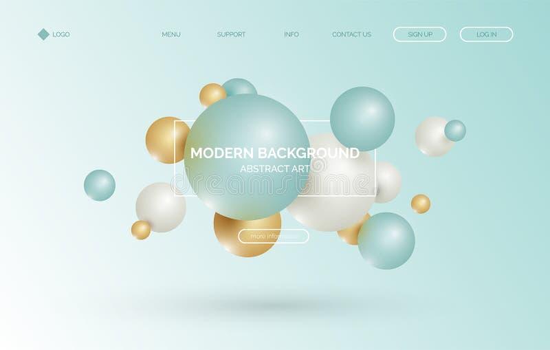 3d воздушный шар, предпосылка сферы реалистическая, знамя для представления, приземляясь страница, вебсайт иллюстрация вектора