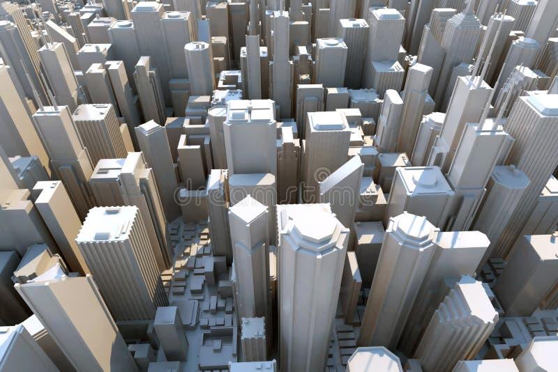 вид на город 3d сверху стоковая фотография rf