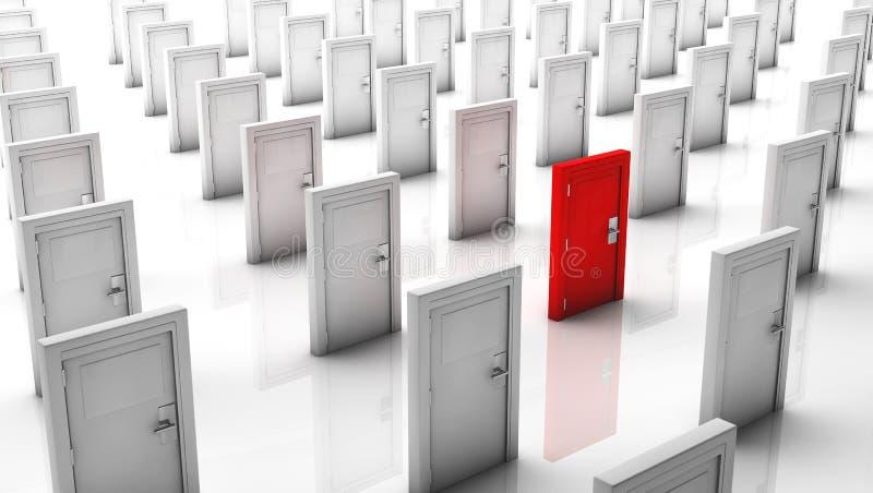 3d закрыло двери в белизне и одно в красном цвете иллюстрация вектора