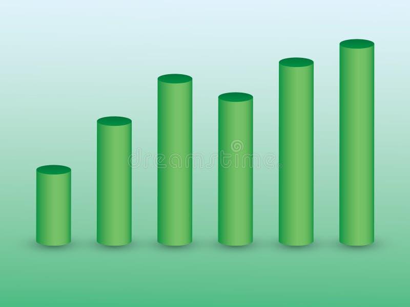 3D зеленеют бары на зеленой предпосылке для показывать рост и значение в шаблоне дела информации графическом иллюстрация вектора