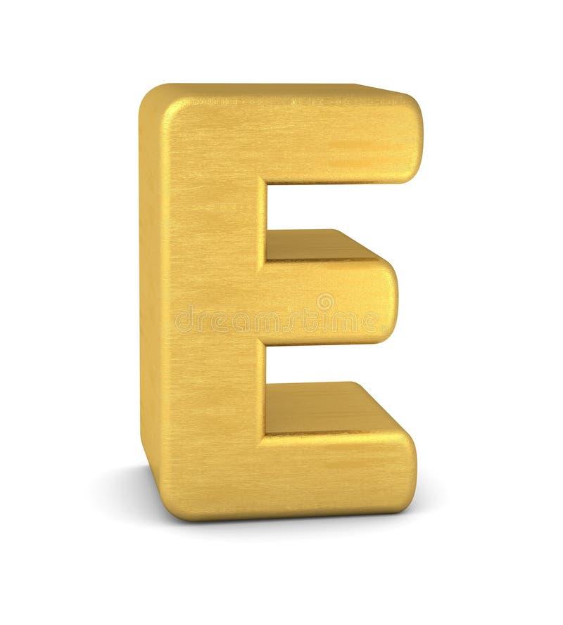 3d золото письма e иллюстрация штока