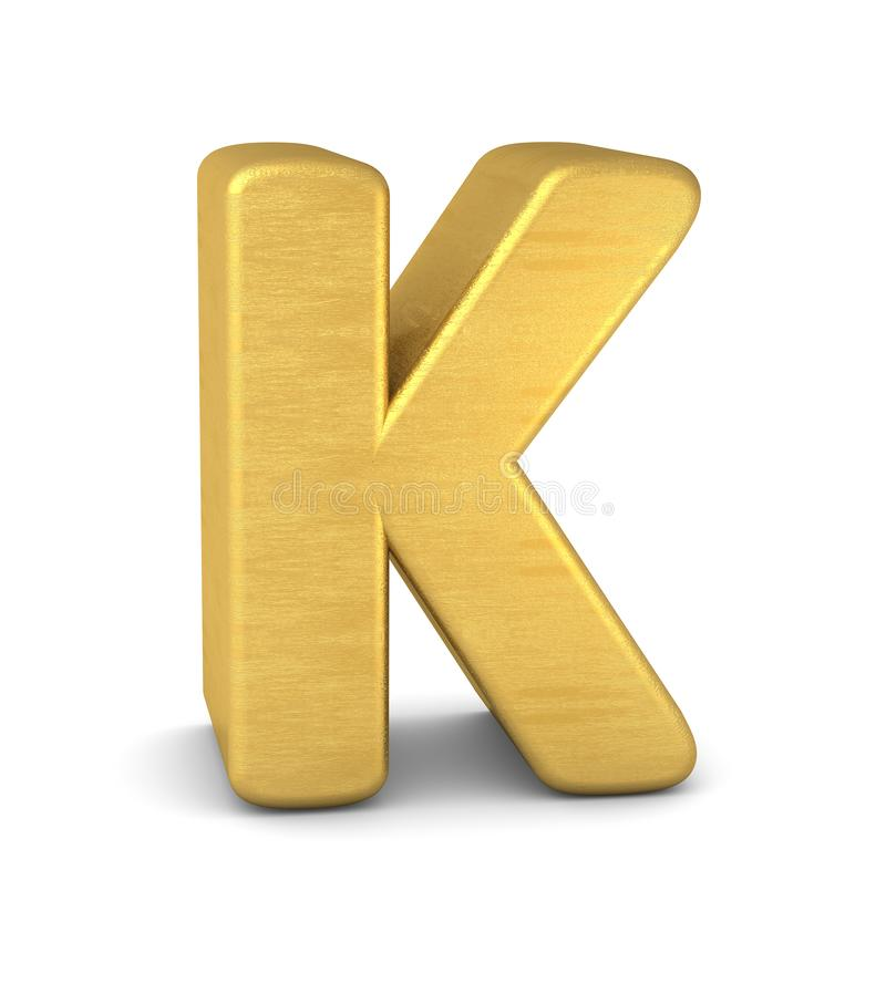 3d золото письма k иллюстрация вектора