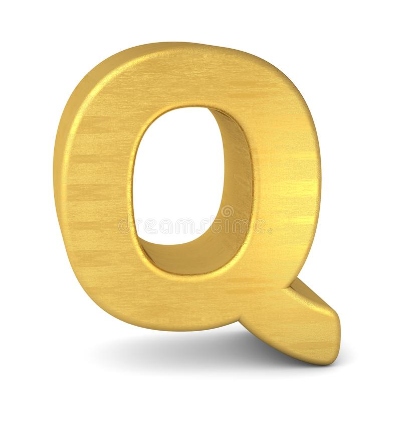 3d золото письма q иллюстрация штока