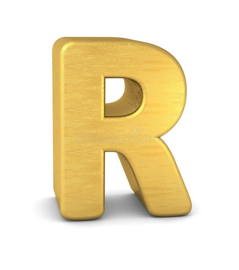 3d золото письма r иллюстрация вектора