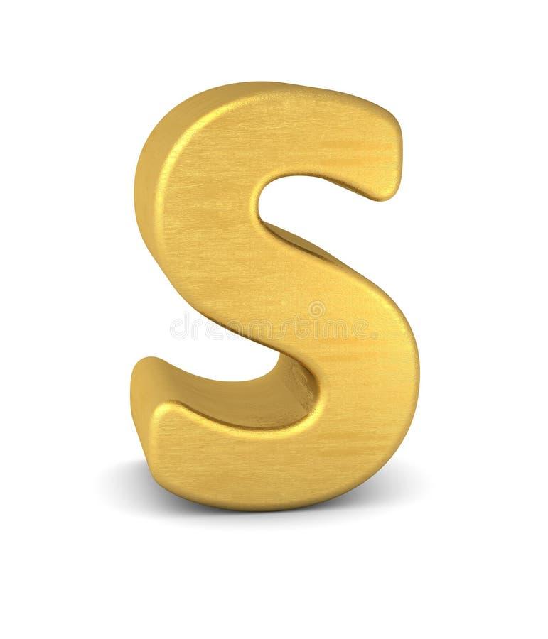 3d золото письма s иллюстрация штока