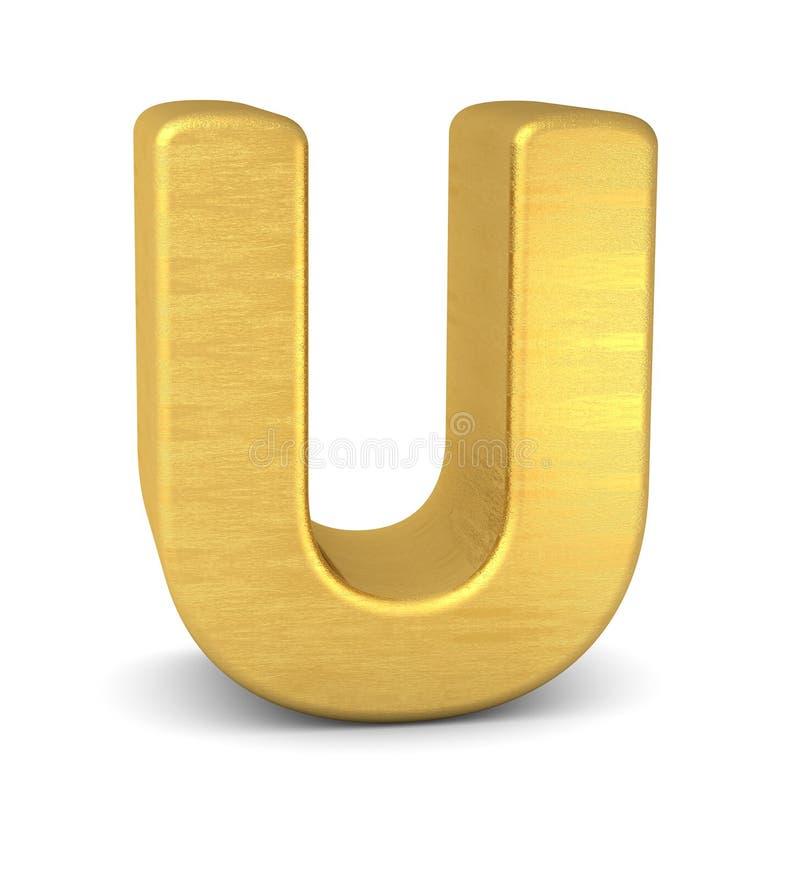 3d золото письма u иллюстрация штока