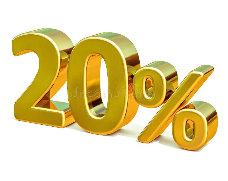 3d золото 20 знак скидки 20 процентов стоковое изображение