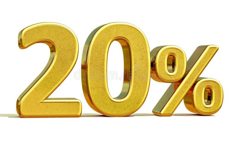 3d золото 20 знак скидки 20 процентов стоковая фотография