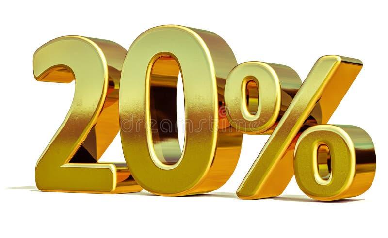3d золото 20 знак скидки 20 процентов стоковое фото rf