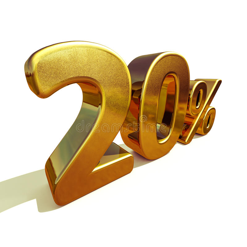 3d золото 20 знак скидки 20 процентов стоковые фотографии rf