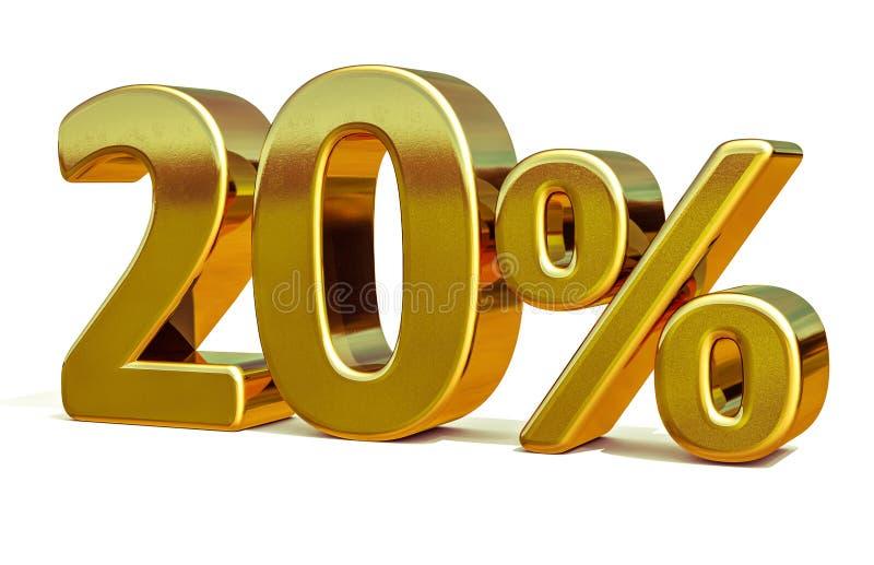 3d золото 20 знак скидки 20 процентов стоковое изображение rf