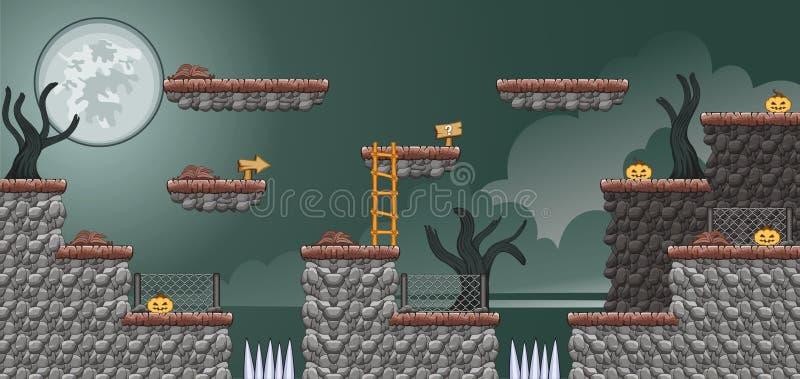 2D игра 17 платформы Tileset стоковое изображение rf