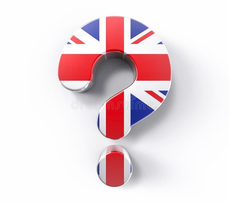 3D изолировало вопросительный знак флага Великобритании Поддержка Concep решения сомнения иллюстрация штока