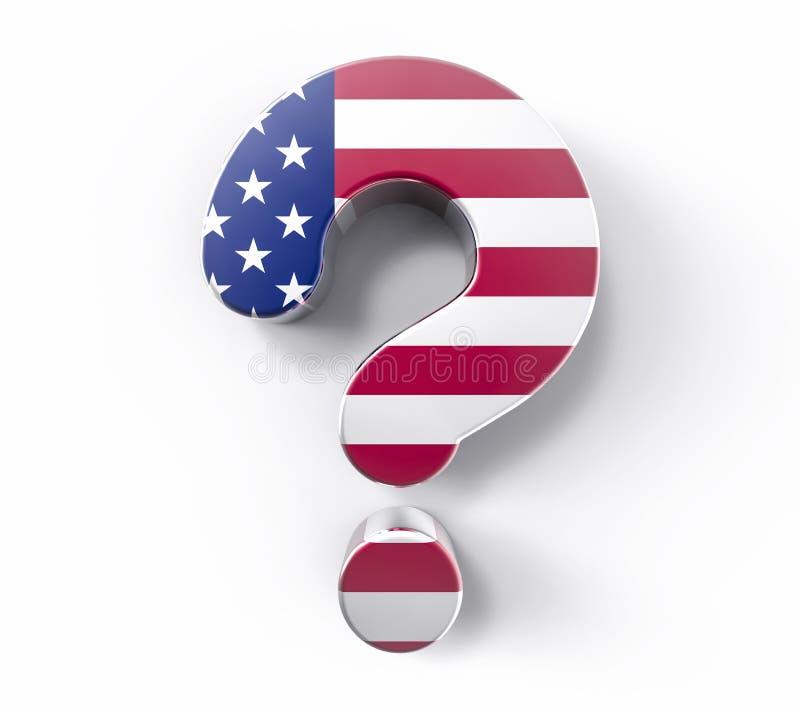 3D изолировало вопросительный знак флага США Поддержка Conce решения сомнения бесплатная иллюстрация