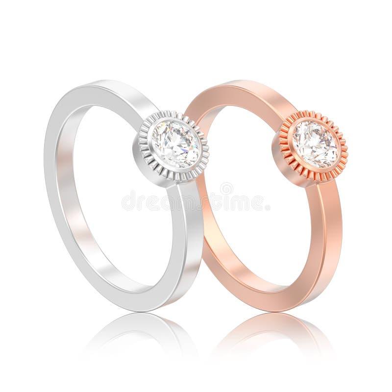 3D иллюстрация 2 изолировала серебр и розовое solita свадьбы золота бесплатная иллюстрация