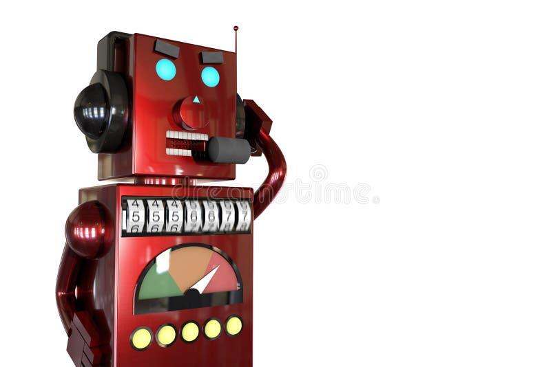 3d иллюстрация: красно-металлический робот в наушниках с наушниками звонит покупателям с раздражающей рекламой, набирает номер сл иллюстрация штока