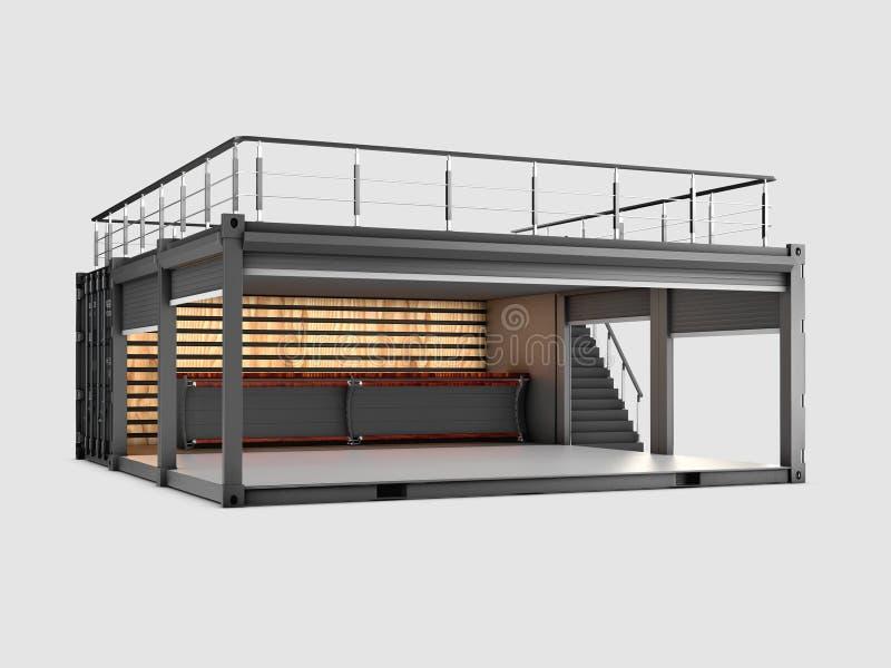 3d иллюстрация преобразованного старого контейнера для перевозок в кафе, изолированный серый цвет бесплатная иллюстрация