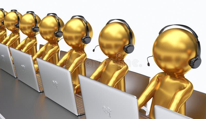 3D иллюстрация, работники работая в центре телефонного обслуживания иллюстрация штока