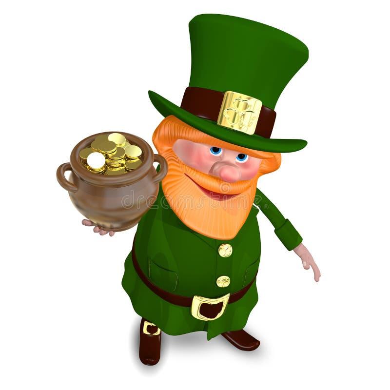 3D иллюстрация St. Patrick поднимает горшок с золотом иллюстрация штока
